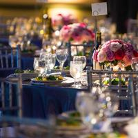 glassware on event tables