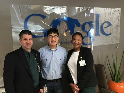 Ted, Phill and Michelle in front of the Google Ann Arbor Sign