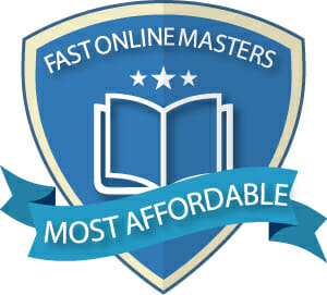 Graphic of blue shield with the words 'Fast Online Masters' along the top of the shield and the words 'Most Affordable' across the front of the shield inside of a ribbon