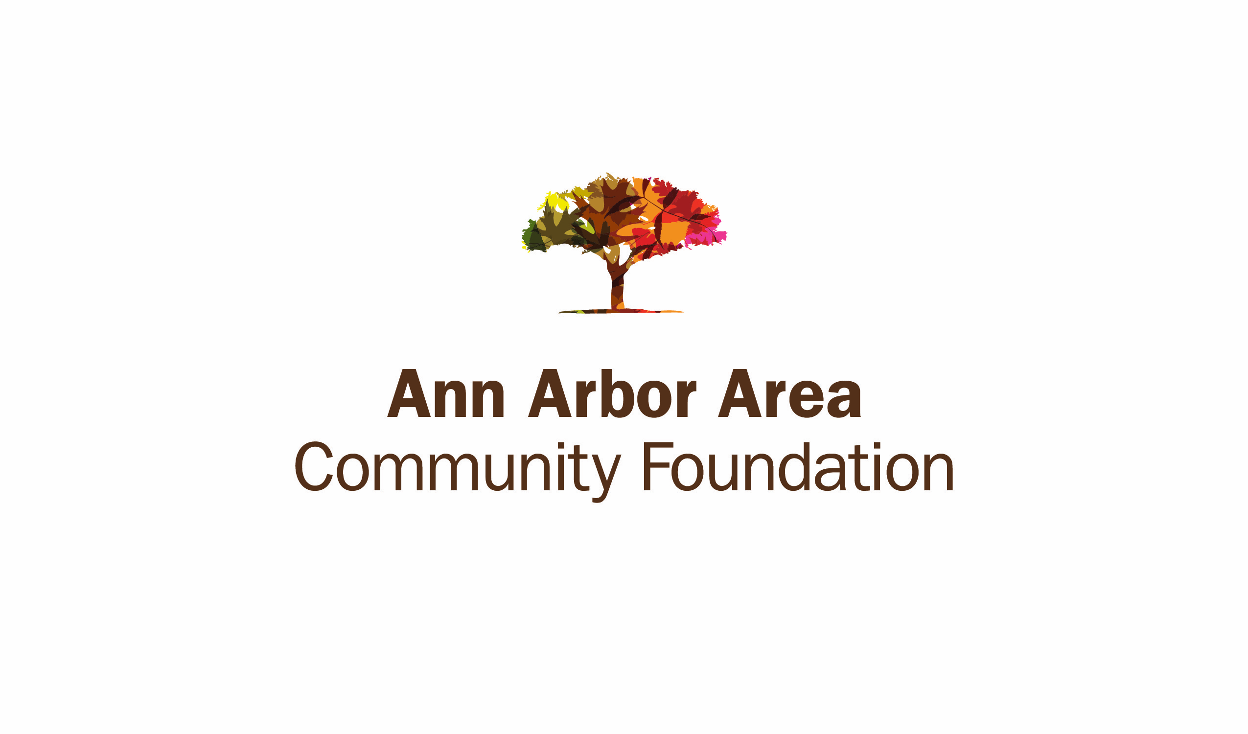 the ann arbor area community foundation logo of a multicolored tree with leaves that resemble autumn