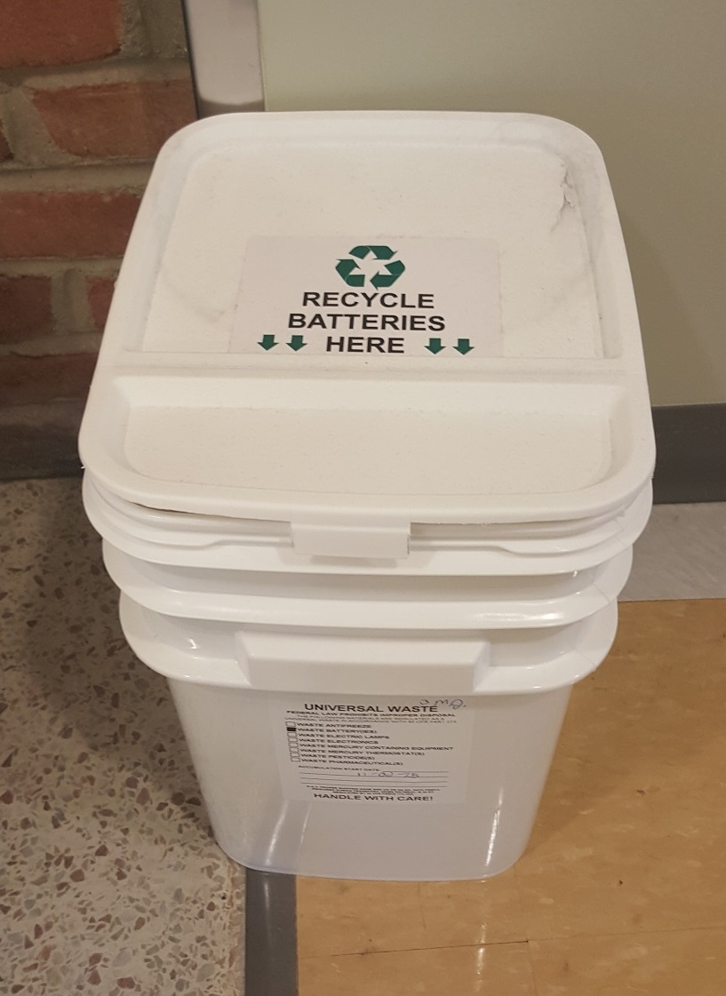 A photo of a battery recycling bin.