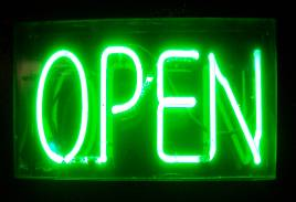Neon green open sign