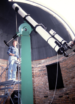 Norbert Vance in the Sherzer Observatory.