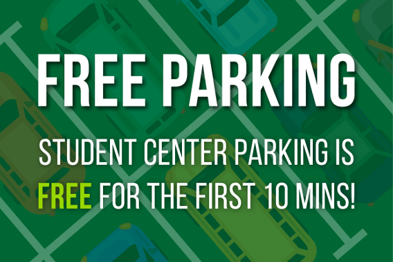 A flyer stating parking is free for the first 10 mins.